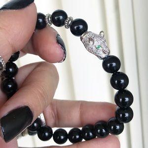 Silverskylight Jewelry - Genuine onyx white gold plated cz panther bracelet